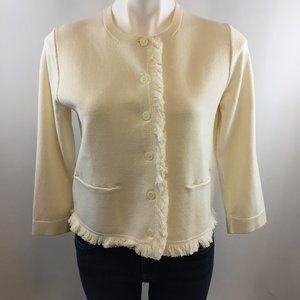 Ann Taylor Cream Fringe Cardigan/Jacket
